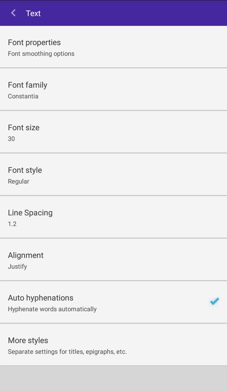 Impostazioni di testo - FullReader
