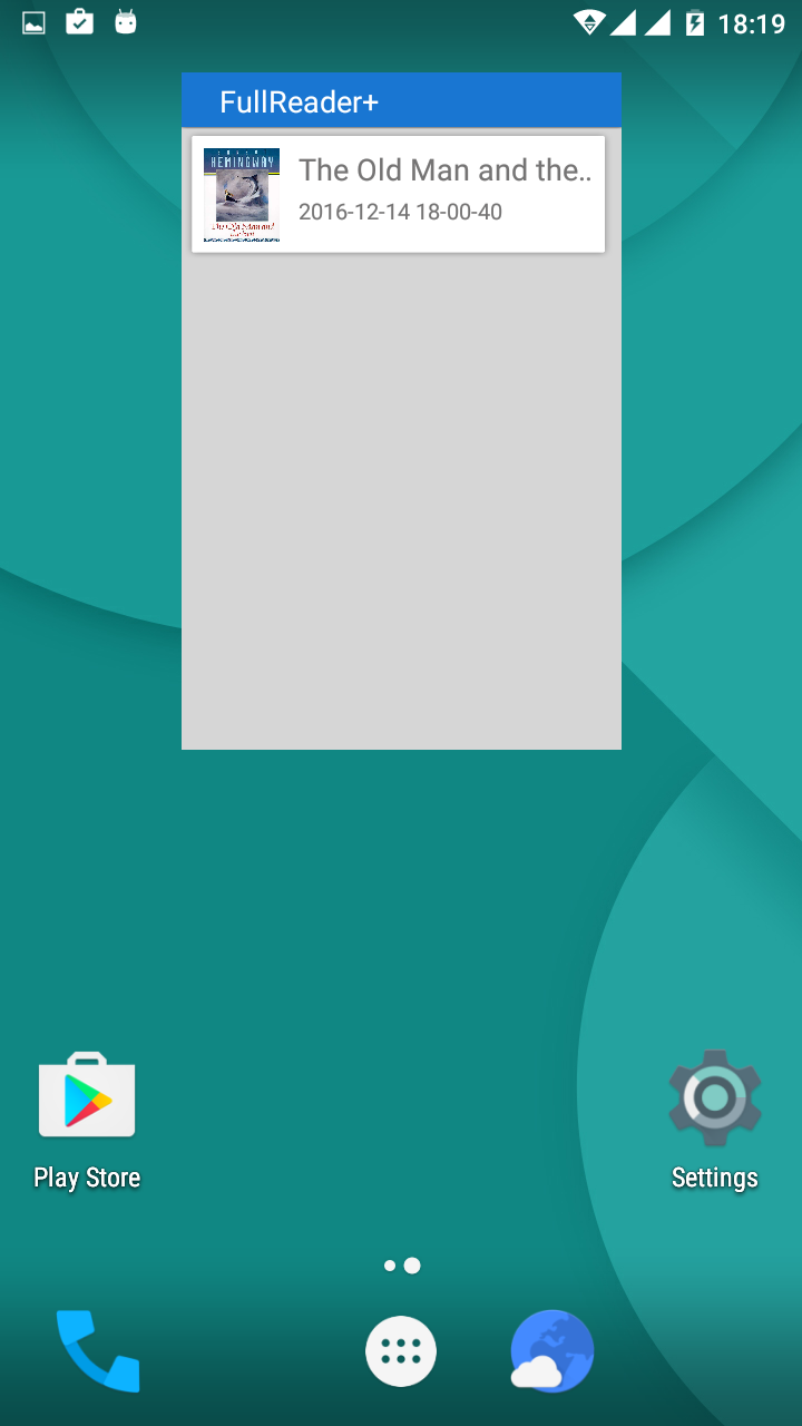 A widget for the home screen panel - FullReader